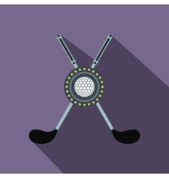 Two crossed golf clubs and a ball flat icon vector
