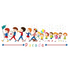 Children and the band in the parade vector