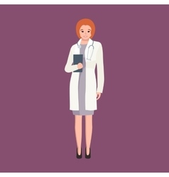 Woman doctor in white lab coat researcher with vector