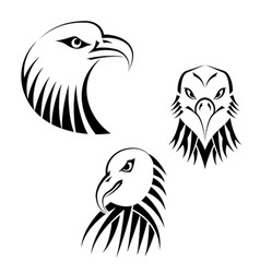 Set eagles heads vector