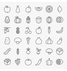 Fruit vegetable line art design icons big set vector