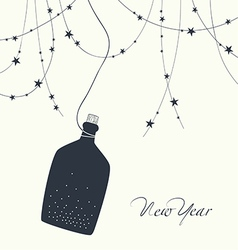 A bottle of champagne and new year123 vector