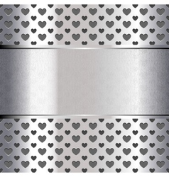 Background perforated shape heart metallic texture vector image