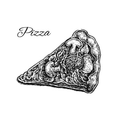 Black and white hand drawn pizza slice vector image vector image