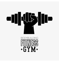 bodybuilding fitness gym hand hold barbell vector image