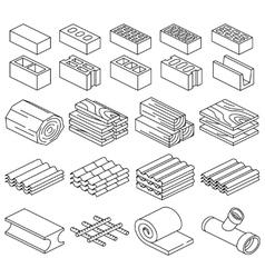 Building construction materials 3d isometric vector
