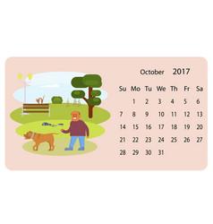 Calendar 2018 for oktober vector