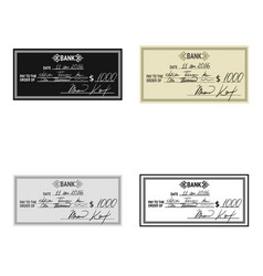 Cheque icon in cartoon style isolated on white vector