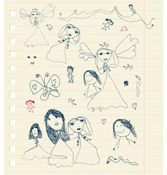 Childrens sketch on sheet for your design vector image