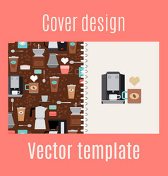 cover design with coffee maker pattern vector image vector image