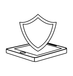 Figure shield smartphone hosting icon vector
