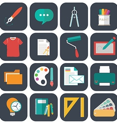 Graphic web design icons flat style vector image