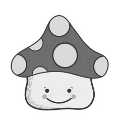 Grayscale kawaii happy fangus with eyes and mouth vector
