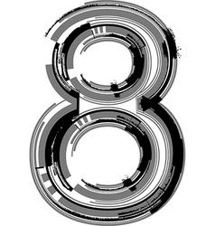 Grunge font number 8 vector