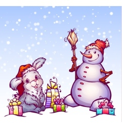 hare and snowman vector image