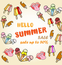 Hello summer sale poster with ice cream vector
