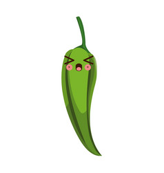 Kawaii green chili pepper vegetable fresh food vector
