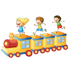 kids on train vector image vector image