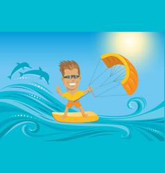 Kitesurfer on summer ocean vector