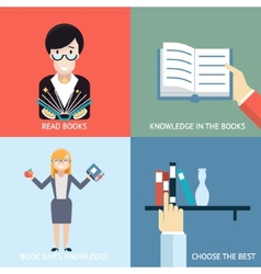 Reading Books Signs and Symbols Icons Hands vector image