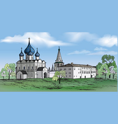 Russian suzdal city kremlin landscape travel vector