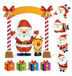 santa and reindeer vector image vector image