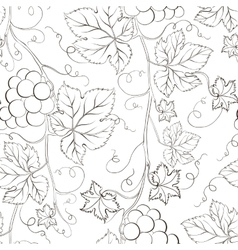 Seamless grape pattern black and white vector