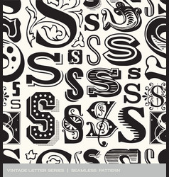 Seamless vintage pattern of the letter S vector image vector image