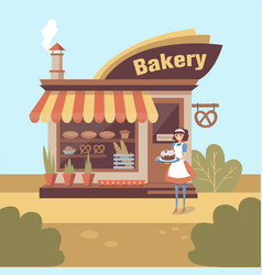 Smiling girl baker character standing near bakery vector