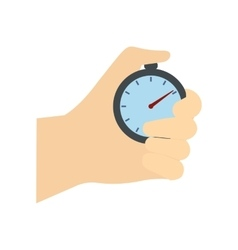 Stopwatch in hand flat icon vector