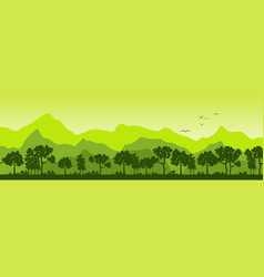 summer landscape with trees and mountains vector image vector image
