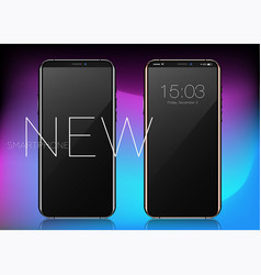 super realistic phone with blank screen black vector image vector image