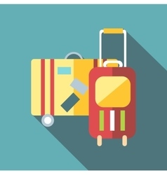 Suitcase on wheels icon flat style vector
