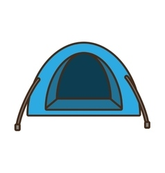 Blue dome tent hiking forest camping vector