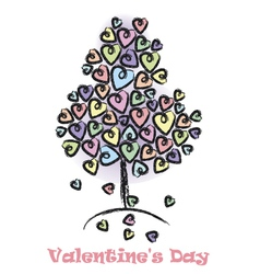 Valentines day background with tree-love vector