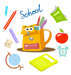 school items cartoon style vector image