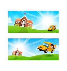 Back to school concept blank banner template vector
