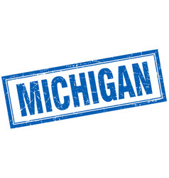 Michigan blue square grunge stamp on white vector