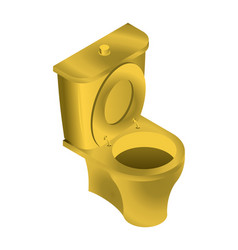 Golden toilet isolated wc for rich on white vector