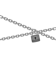Padlock and steel chain finance security and vector