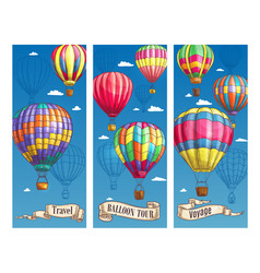 hot air balloon sketch banner for travel design vector image