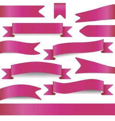 Set of pink ribbons vector