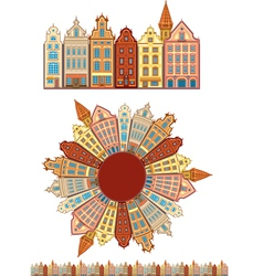 Vintage buildings seamless with pattern brush vector