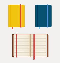 Set of notebooks in flat style with shadows vector