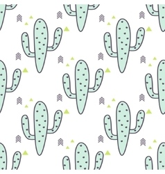 Green mint cactuses seamless pattern vector