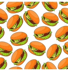 Fast food cheeseburgers seamlesss pattern vector