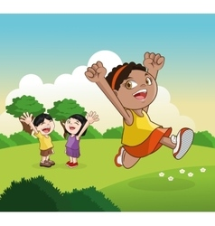 Cartoon of happy little kids vector