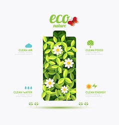 Ecology infographic battery symbol shape design vector