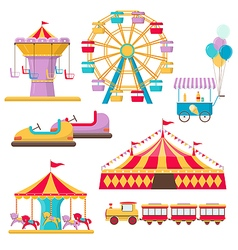 Set of amusement park elements vector
