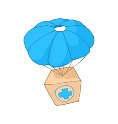 Medicine aid in a box with a parachute icon vector